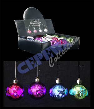 LED Christmas<br> baubles, colorful,<br>4 assorted, 8