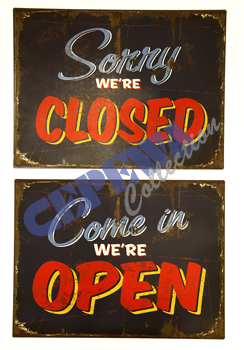 "Tin Sign ""Open / Close"""
