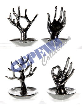Sorted jewelry<br> holder, silver,<br>4-fold