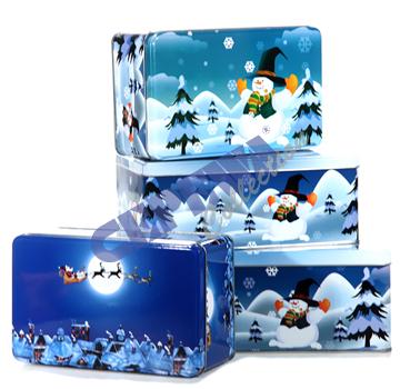 Christmas cookie<br> jar, set of 3,<br>rectangular, 2-fol