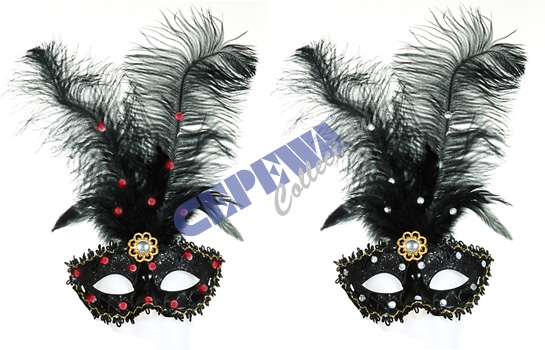 Feathers mask,<br> Venice, with<br>rhinestones, 2-fold